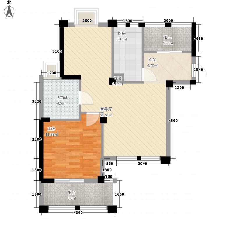 骆城芳洲1室1厅1卫1厨90.00㎡户型图