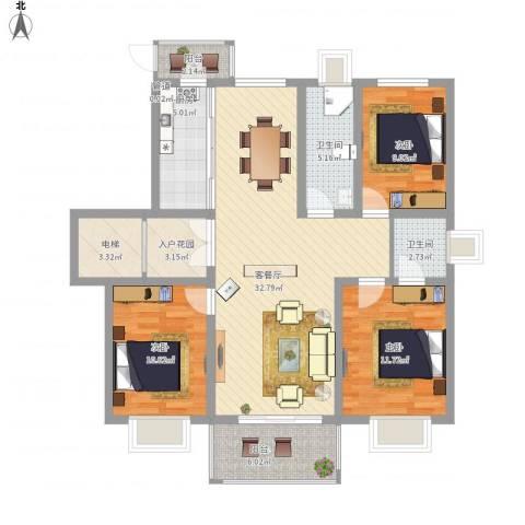 君悦国际花园3室1厅2卫1厨133.00㎡户型图