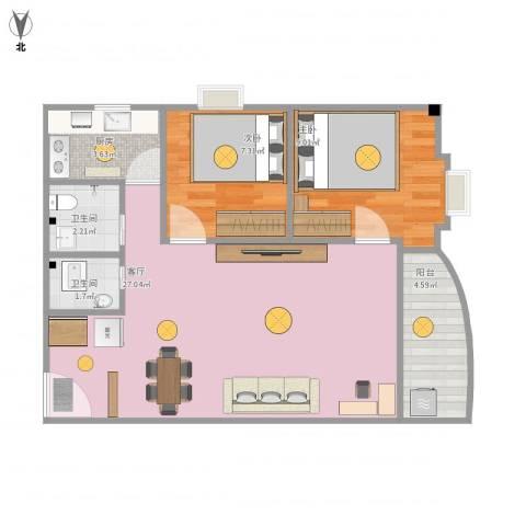 富和花园2室1厅2卫1厨75.00㎡户型图