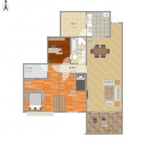 锦秀半山御景3室2厅2卫1厨137.00㎡户型图