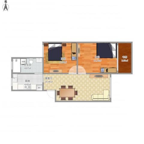 红莲小区3室1厅1卫1厨65.00㎡户型图