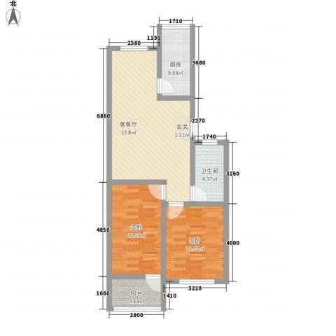 天成阳光花园2室1厅1卫1厨87.00㎡户型图