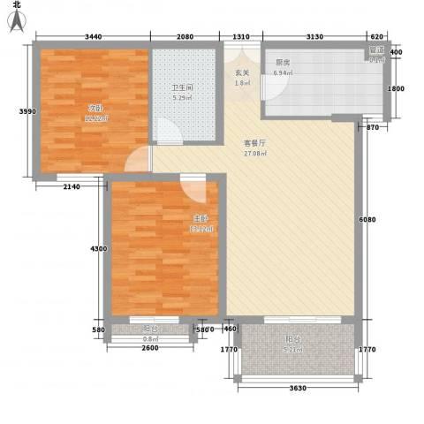当代名筑2室1厅1卫1厨81.11㎡户型图