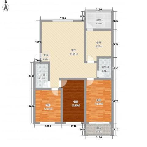 天成阳光花园3室2厅2卫1厨142.00㎡户型图