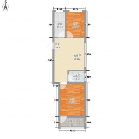 天成阳光花园2室1厅1卫1厨62.00㎡户型图