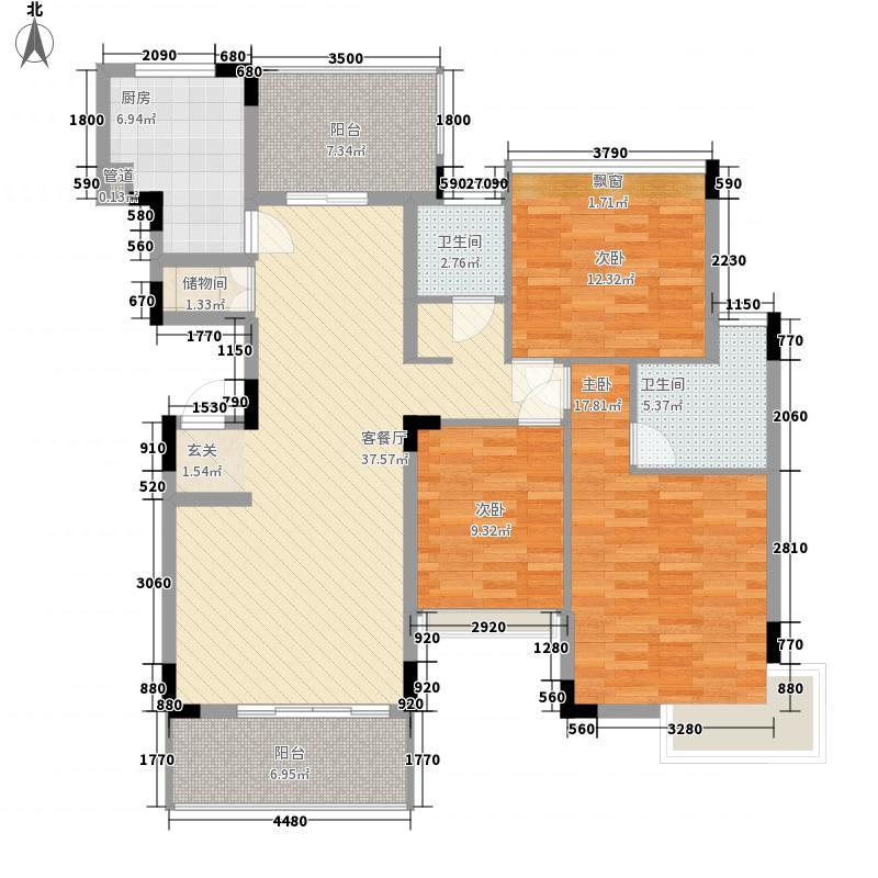 东方新城13.40㎡C5户型3室2厅2卫1厨