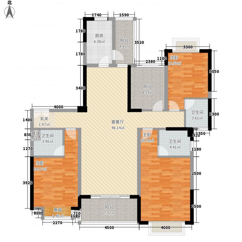 锦绣山河四期观园165.00㎡1#1单元02户型3室2厅3卫1厨