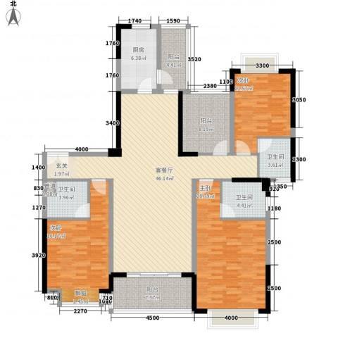 锦绣山河四期观园3室1厅3卫1厨165.00㎡户型图