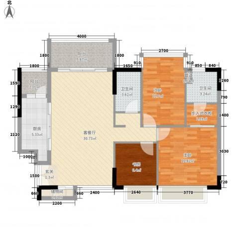 合正锦园3室1厅2卫1厨121.00㎡户型图