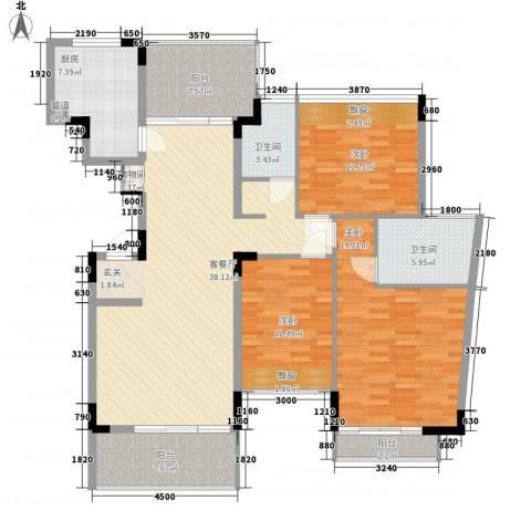 东方新城3室1厅2卫1厨115.66㎡户型图