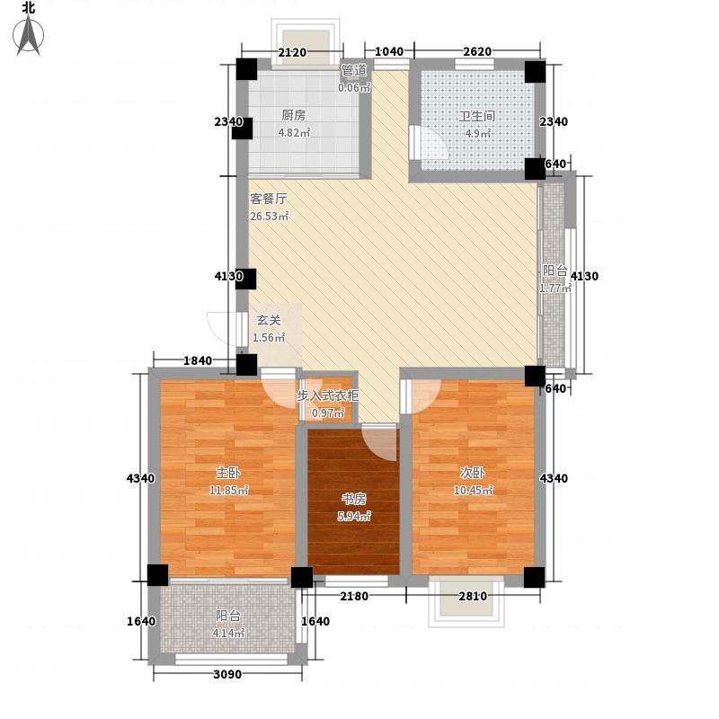 南苑泉都3室1厅1卫1厨104.00㎡户型图