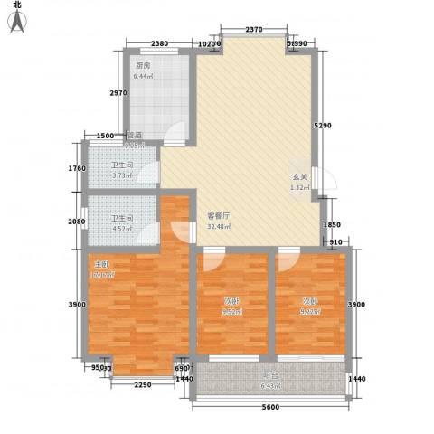 滨河星都3室1厅2卫1厨128.00㎡户型图