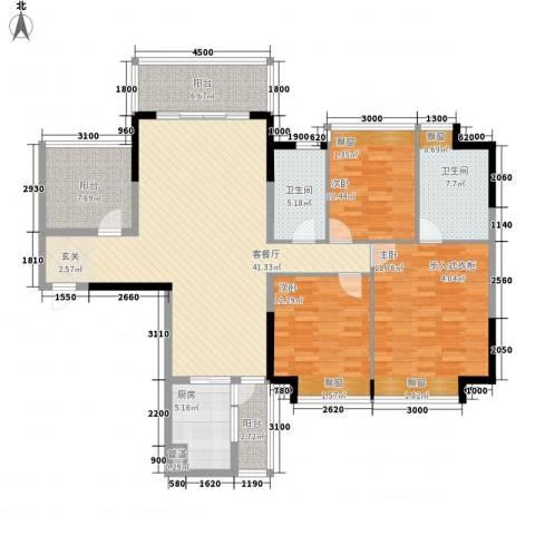 锦绣山河四期观园3室1厅2卫1厨118.24㎡户型图