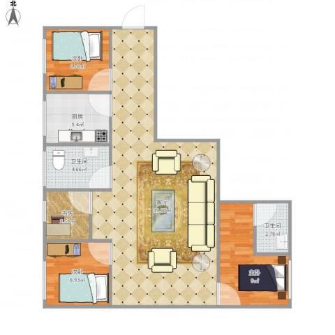 龙华花半里花园4813834室1厅2卫1厨106.00㎡户型图