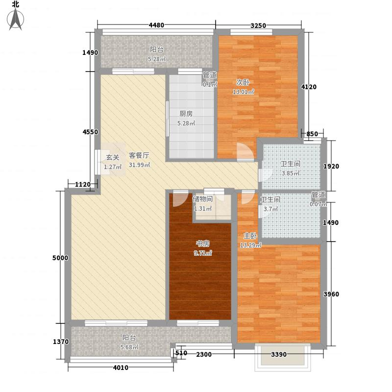 德尚世家3室1厅2卫1厨134.00㎡户型图