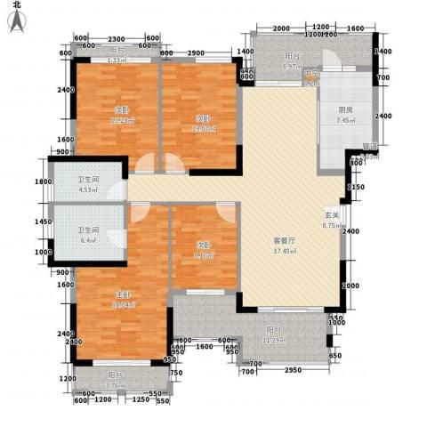 富力盈溪谷4室1厅2卫1厨150.00㎡户型图