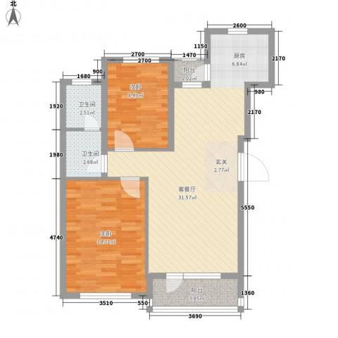 开成领地2室1厅2卫0厨90.00㎡户型图