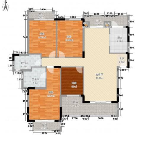 富力盈溪谷4室1厅2卫1厨140.00㎡户型图