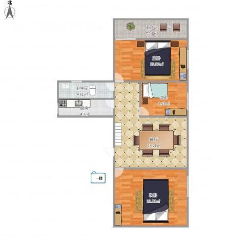 创世纪滨海花园6617783室1厅1卫1厨116.00㎡户型图