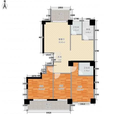 泛华盛世3室1厅2卫1厨137.00㎡户型图