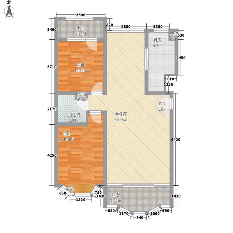 盛世豪廷123.10㎡一期4号楼B户型2室2厅1卫1厨