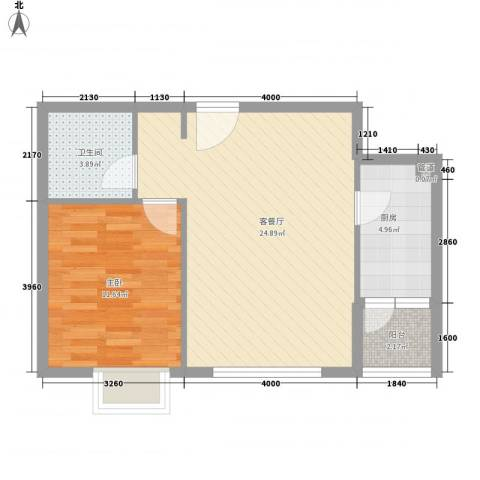 东亚国际城1室1厅1卫1厨67.00㎡户型图