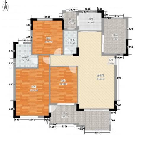 富力盈溪谷3室1厅2卫1厨120.00㎡户型图
