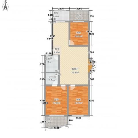 天波嘉和苑3室1厅2卫1厨143.00㎡户型图