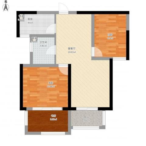 诚德盛世原著3室1厅1卫1厨93.00㎡户型图