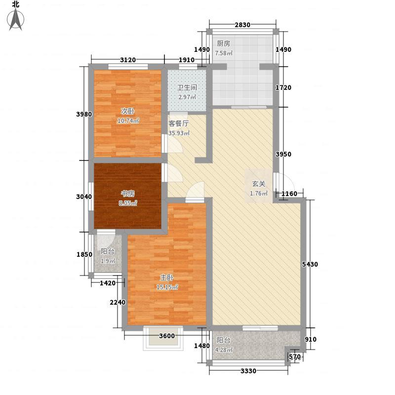 加州第一城125.24㎡一期户型3室2厅1卫1厨
