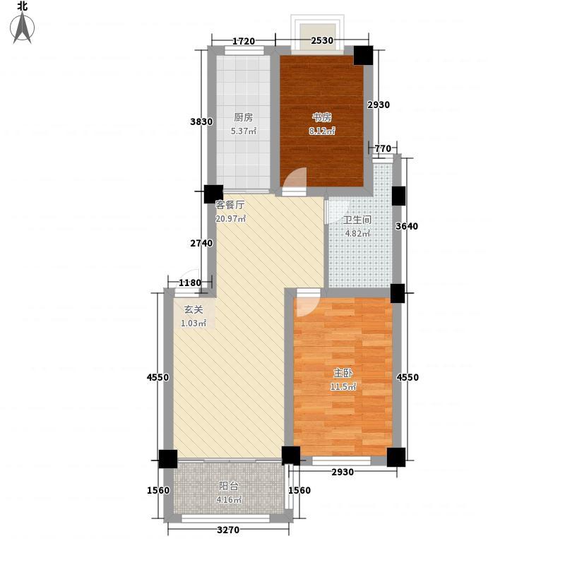 南苑泉都2室1厅1卫1厨80.00㎡户型图