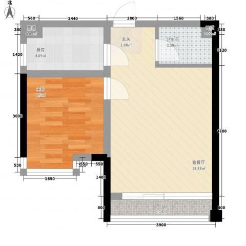 我平方1室1厅1卫1厨35.95㎡户型图