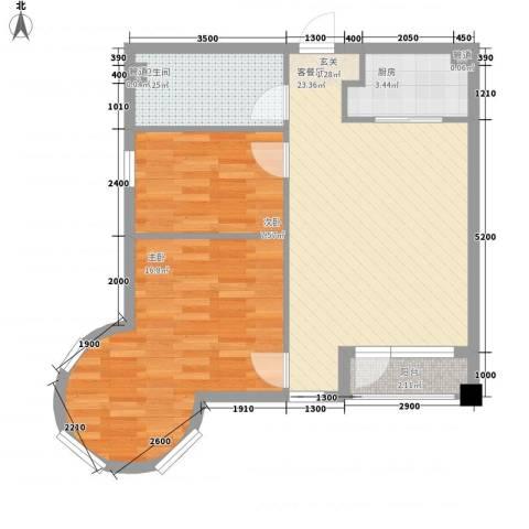悦泰街里项目2室1厅1卫1厨58.66㎡户型图