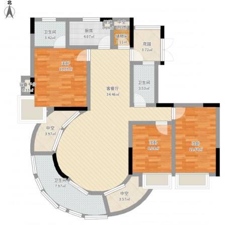 龙湾上和城3室1厅3卫1厨147.00㎡户型图