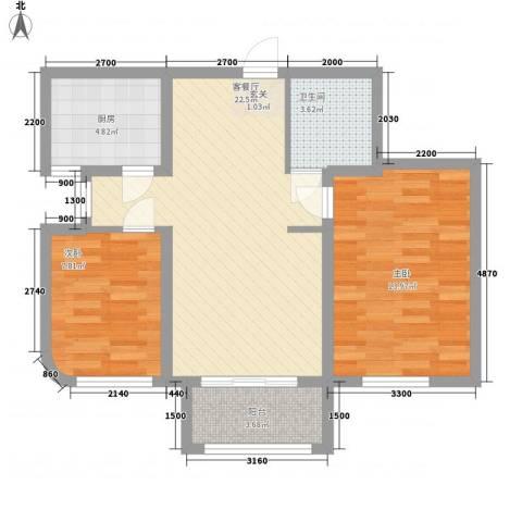 德泰岭秀逸城2室1厅1卫1厨82.00㎡户型图