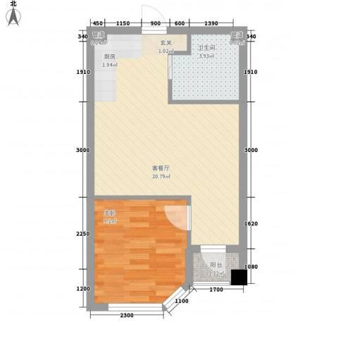 悦泰街里项目1室1厅1卫0厨56.00㎡户型图