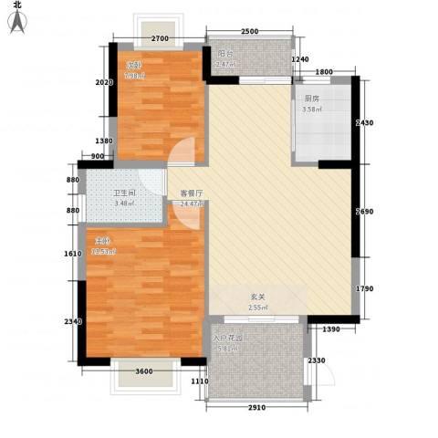 银河花园2室1厅1卫1厨87.00㎡户型图