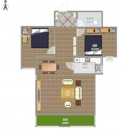 都市馨园2室1厅1卫1厨103.00㎡户型图