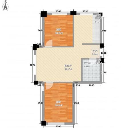 悦泰街里项目2室1厅1卫0厨82.00㎡户型图