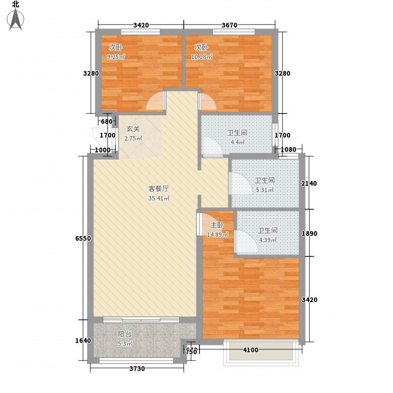 圣菲漫步3室1厅3卫0厨125.00㎡户型图