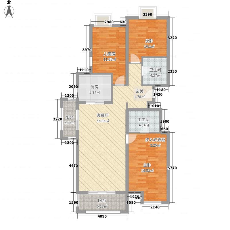 圣菲漫步3室1厅2卫1厨137.00㎡户型图