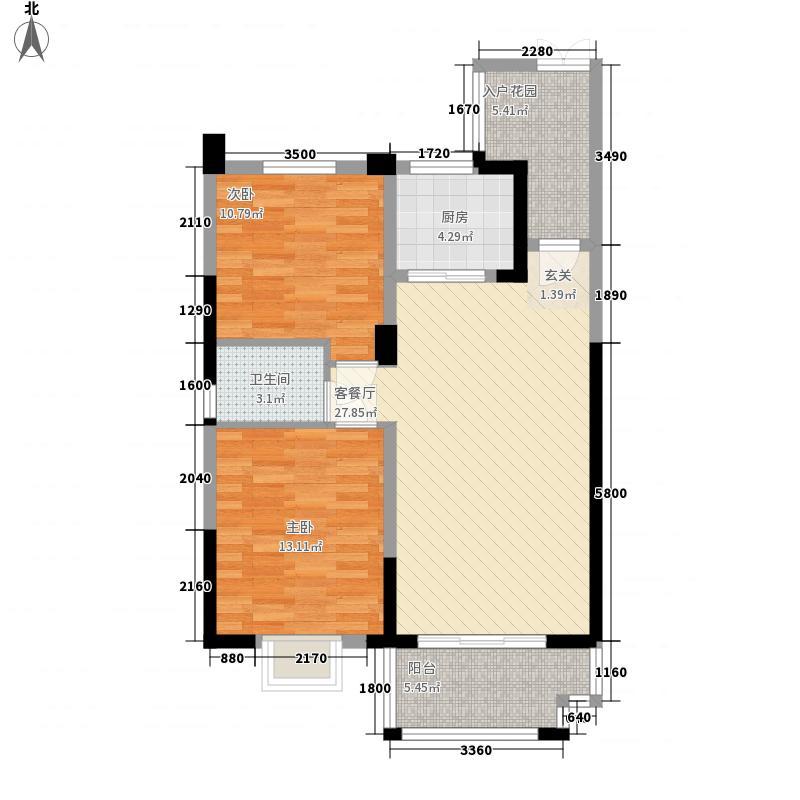 升华现代城C3单元B户型2室2厅1卫1厨