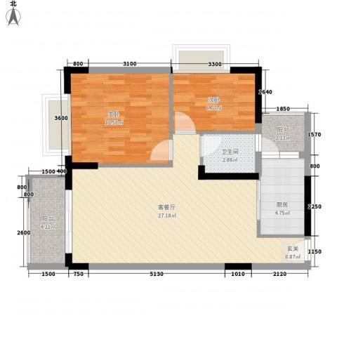 合正锦园2室1厅1卫1厨86.00㎡户型图