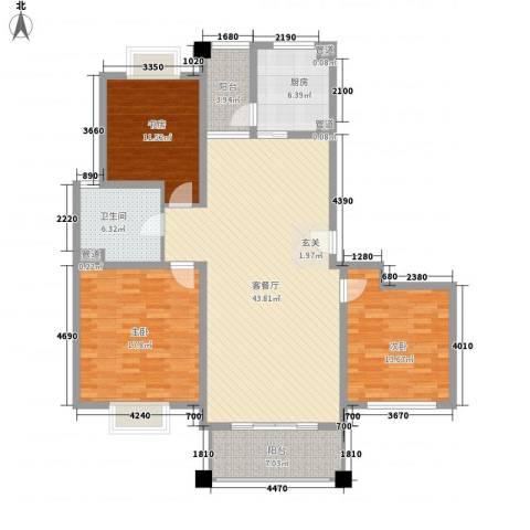 东怡楼3室1厅1卫1厨156.00㎡户型图