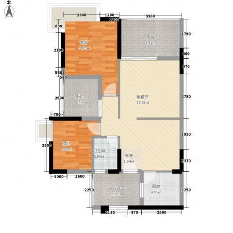 汇星名庭2室1厅1卫1厨107.00㎡户型图