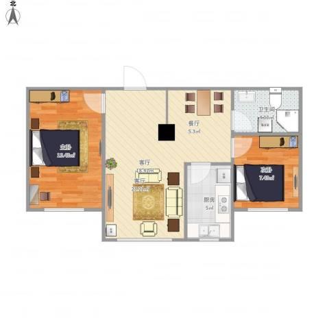金域明珠2室1厅1卫1厨72.00㎡户型图