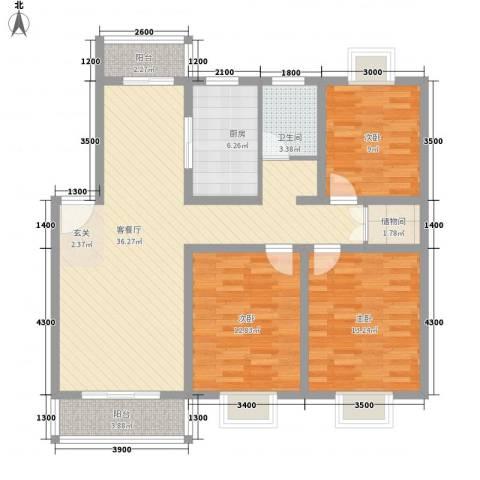 华顺天门湖花园3室1厅1卫1厨129.00㎡户型图