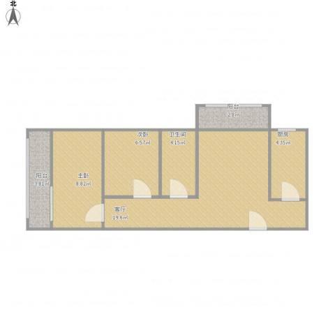 牛街西里-1712.2室1厅1卫1厨69.00㎡户型图