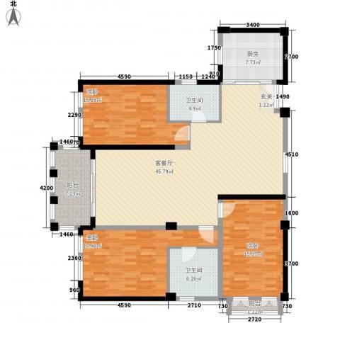 龙门世家3室1厅2卫1厨172.00㎡户型图