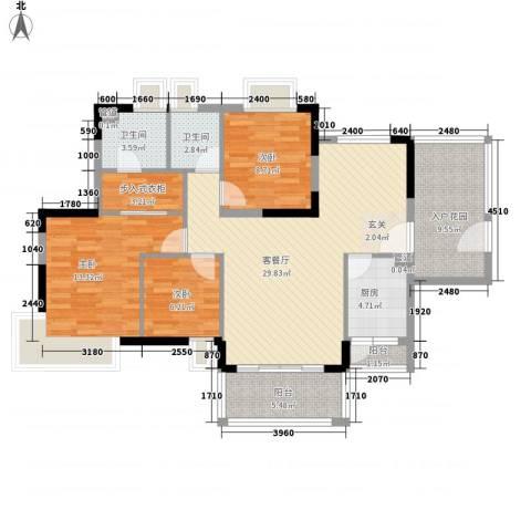 星河湾3室1厅2卫1厨127.00㎡户型图